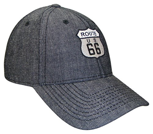 THS Route 66 Denim Adjustable Curved Bill Baseball Cap (One Size, Black)