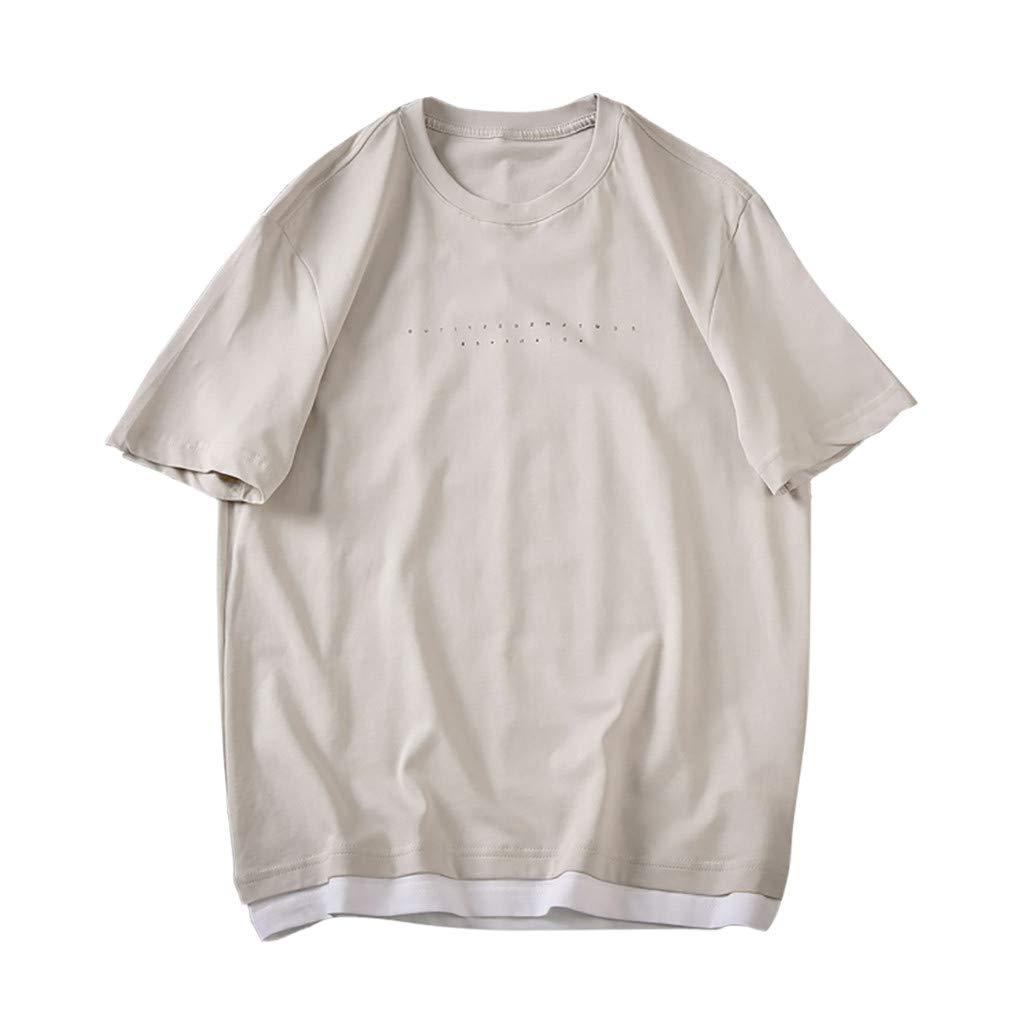 Men's Summer Casual Fashion Fake Two T-Shirts O-Collar Short Sleeves Top Blouse Gray