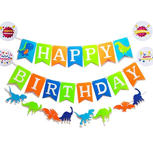 Seasons Stars Dinosaur Happy Birthday Banner( Assembled) with White Letters,Dino Birthday Colorful Felt Banner, Dino Jungle Jurassic Garland photo props For Kids Birthday Dinosaur Party Supplies