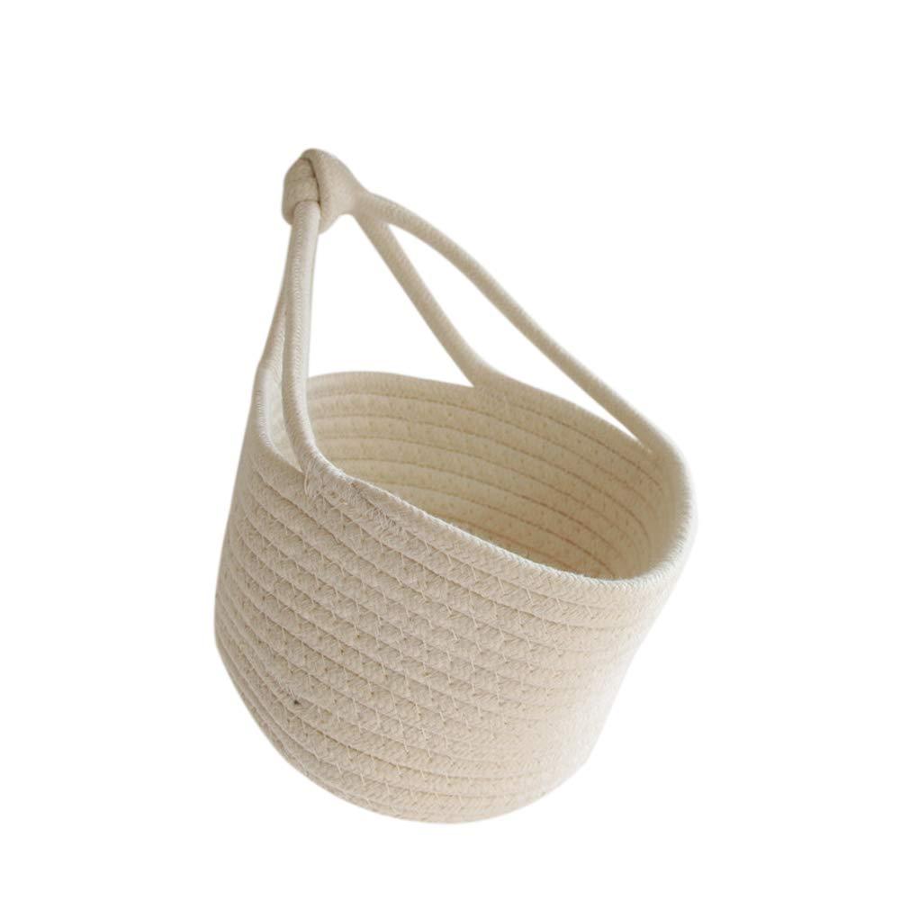 1PC Wall Hanging Storage Basket Nordic Style Cotton Blend Door Closet Storage Basket Bag Foldable Storage Bin Family Organizer Box Decorative Bag