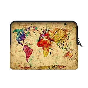 Coody Vintage Retro Style World Map Laptop Sleeves 15.4