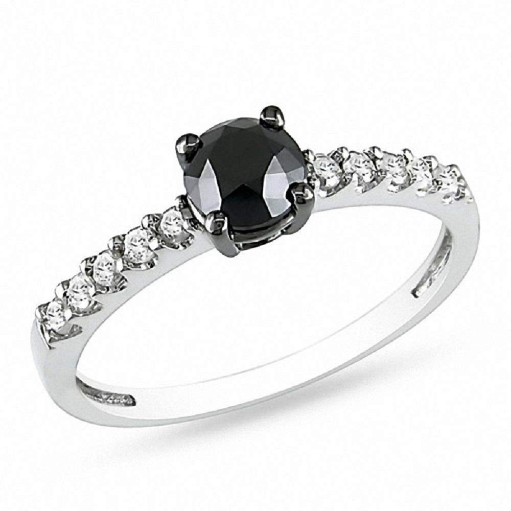 Shakti Jewels 1CT Black /& White Cubic Zirconia Engagement Ring in 14k White Gold Over 925 Silver