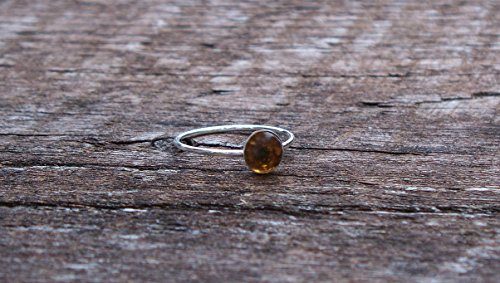 Recycled Vintage Amber Clorox Jug Sterling Silver Stacking Ring