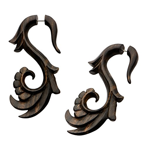 [Tribal ORGANICS earrings wooden TROPICAL feathered Bird style fake gauges 18g w 83] (Bird Costumes Women)