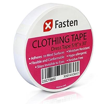 XFasten Clothing Tape Hypo-allergenic, White, 5/8-In x 30-Ft Dress Tape for Fashion by XFasten