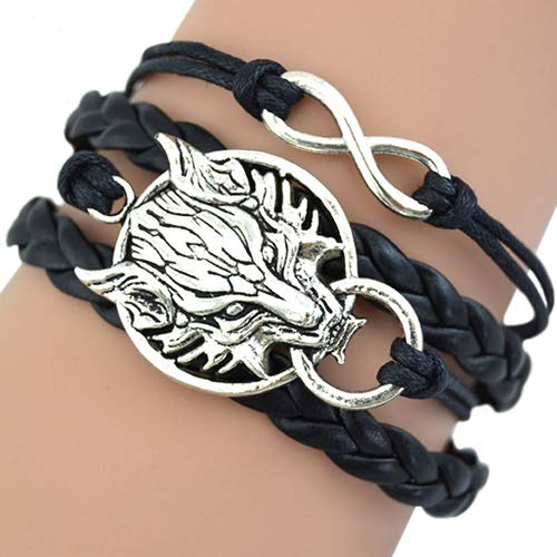 Bluelans Women's Retro Wolf Head Charm Infinite Braided Faux Leather Wax Cord BraceletValentine's Day/Wedding/Party/Anniversary/Holiday/Mother's Day/Father's Day/Thanksgiving Day/Birthday ()