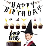 Harry Potter Party Supplies Happy Birthday Banner Cupcake Toppers Wizard Hat Cake Topper for Harry Potter Birthday Decorations
