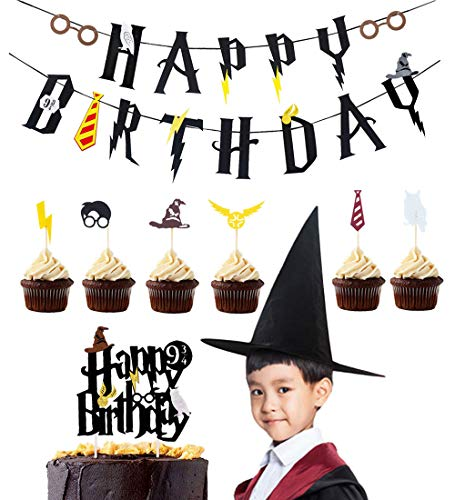 LUCK COLLECTION Harry Potter Party Supplies Birthday Banner Cupcake Toppers Wizard Hat Cake Topper for Birthday Decorations]()