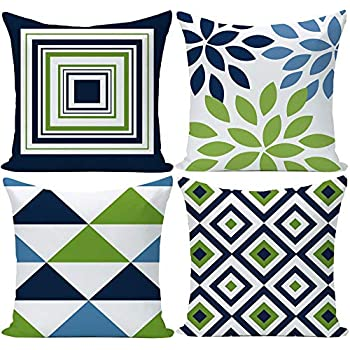 EZVING Navy Pear Green New Living Series Geometric Cotton Linen Indoor Outdoor Pillow Case Cushion Cover for Car Sofa Home Decor