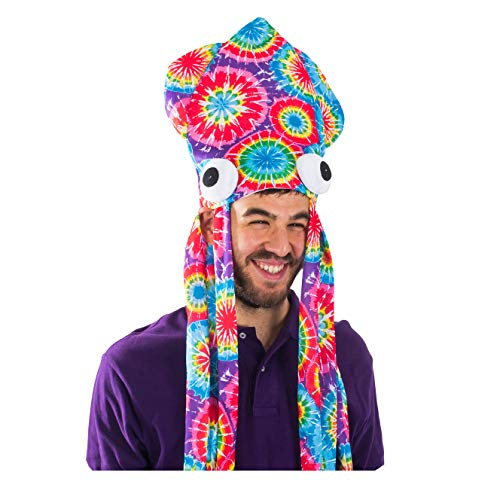 Tie Dye Squid Hat - Oversize Squid Hat In Rainbow Colors