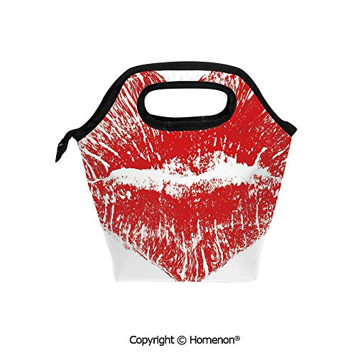 Insulated Neoprene Soft Lunch Bag Tote Handbag lunchbox,3d prited with Red Lipstick Mark in the Shape of a Heart Expression Passion Romance Sensuality Theme,For School work Office Kids Lunch Box & Fo (Best Lipsticks In India With Price)