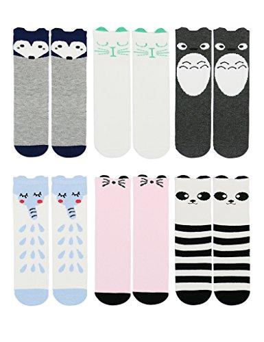 Unisex-baby Socks Knee High Stockings Animal Theme 6 Pack Set