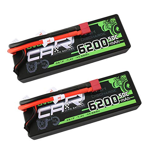 OVONIC 2 Packs 2S 7.4V 6200mAh 50C Lipo Battery with Deans Plug for RC Evader BX Car RC Truck RC Truggy RC Airplane UAV Drone FPV (Hard Case) ()