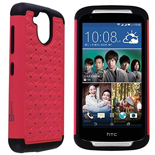 Aurora Stones (Desire 526 Case, CoverON [Aurora Series] Cute Rhinestone Bling Studded Hybrid Diamond Cover Skin Phone Case For HTC Desire 526 - Hot Pink / Black)