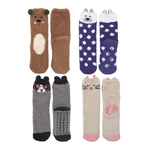 Kitty Brown Womens Shoes - Super Soft Warm Cute Animal Non-Slip Fuzzy Crew Winter Socks - 4 Pairs - Assortment C