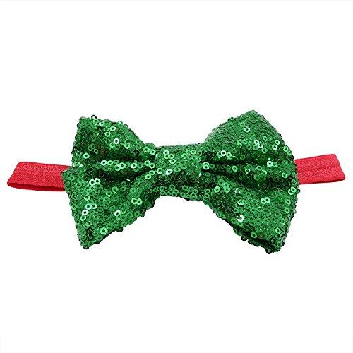 Rarelove Baby Girls Headband XMAS Green Bowknot Sequin Hair Bands Accessories