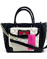 Betsey Johnson Quilted Glitter Enamel Bow Bone/Black