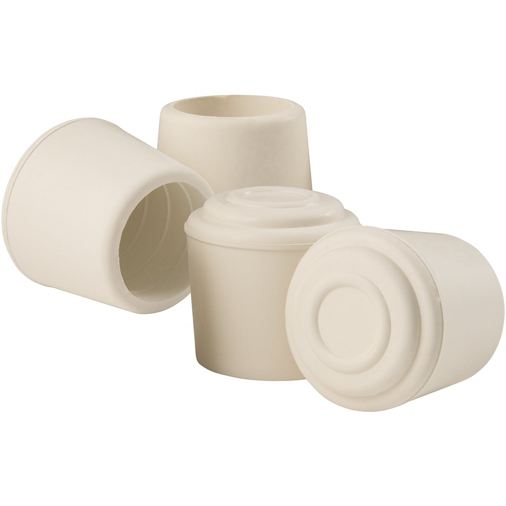 SoftTouch Chair Caps for Legs 1 Inch Inside Diameter, Anti Skid Rubber Feet to Protect Hard Surface Flooring, White 4 Pack