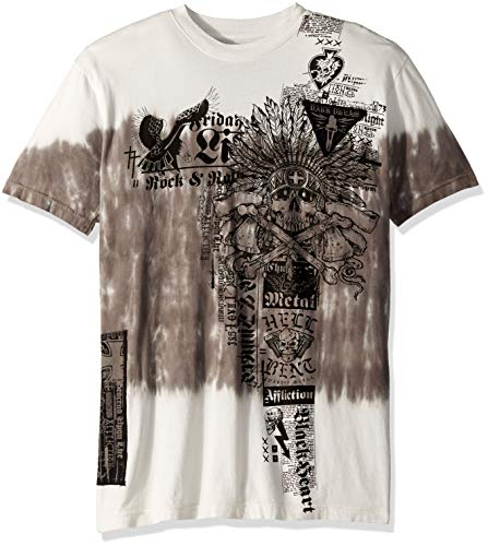 (Affliction Men's Damage Case, White Dark Grey tie dye wash, 3XL)