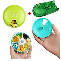 Xerhnan Portable BPA Free Pill Case with 360 Degree Rotation,7 Compartments Week Marks Pill Container,2 pcs(Blue and Green)