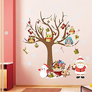 ElecMotive Merry Christmas Santa Claus Owls Christmas Tree Gifts Wall Decals, Living Room Bedroom Shop Window Removable Wall Stickers Murals Removable DIY Home Decorations Art Decor (Christmas)