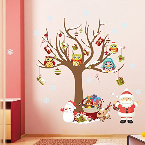 ElecMotive Merry Christmas Santa Claus Owls Christmas Tree Gifts Wall Decals, Living Room Bedroom Shop Window Removable Wall Stickers Murals Removable DIY Home Decorations Art Decor (Christmas Wall Decoration Ideas)