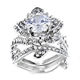 FENDINA Women's 2PCS Vintage 18K White Gold Plated Lotus Flower Created Diamond Gemstone Solitaire Wedding Bridal Ring Sets Size 12