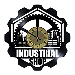 Modern Indusrial shop Art Decor Vinyl Record Wall Clock - gift idea for girls boys parents sister and brother - home & office bedroom nursery room wall decor - customize your clock