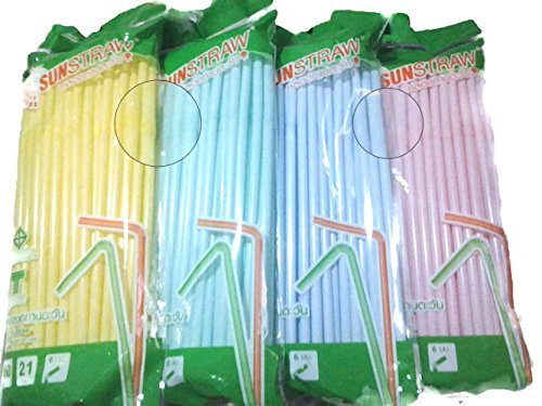 Flexible Straw Mix Sweet Colors -Yellow,Green,Blue,Pink (80 ct/ pack )-4 colors,Great for Summer Time Drinks Colorful and (Navy Stripe Favor Cards)