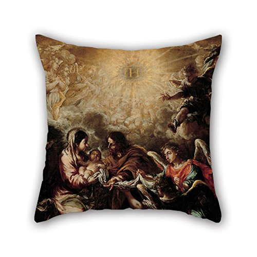Bestseason Oil Painting Juan De Valdés Leal - The Conferring Of The Name Of Jesus Pillow Covers 20 X 20 Inches / 50 By 50 Cm Gift Or Decor For Coffee House,valentine,dining Room,saloon,chair - Twi
