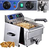 Commercial Restaurant Stainless Steel Electric Deep Fryer w/ Drain 10L Capacity by KOVAL INC.