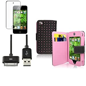 Funda Cuero Punto Rosa+Protector+USB Cable Datos Para Apple iPod Touch Gen 4 4th
