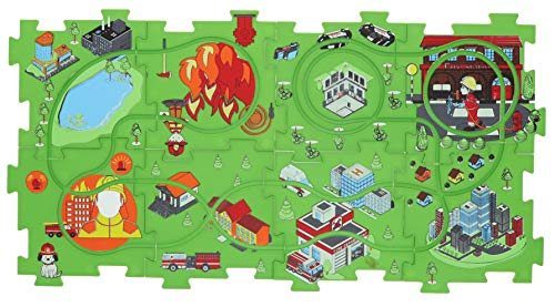 (Puzzle Track Play Set - Battery-Operated Toy Vehicle & Floor Puzzle Play Mat - 16 Pc Sets - Fire Engine Themed Vehicle - Interchangeable Tracks - Create Up To 50 Combinations - by Ideas In Life)