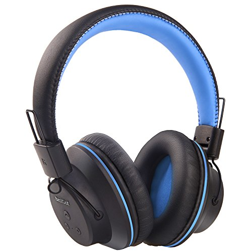 Bluetooth Headphones, BestGot S1 Wireless Headphones Over Ear, 50mm Stereo Driver Foldable headset for 20 Hours, Soft Memory-Protein Earmuffs, Built-in Mic for PC/iPhone/Tablets/TV (Black/Blue)