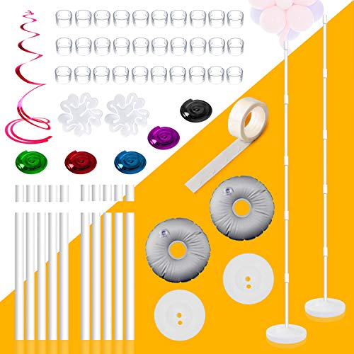 (KABB 2 Set Balloon Column Kit Base Stand and Pole, 61 inch Height [Upgrade] Balloon Column Stand, 30Pcs Balloon Rings DIY Balloon Stand Arch Kit for Birthday Party Wedding Garden & Event Decorations)