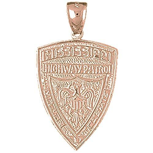 Jewels Obsession Mississippi Highway Patrol Pendant | 14K Rose Gold Mississippi Highway Patrol Pendant - 33 mm