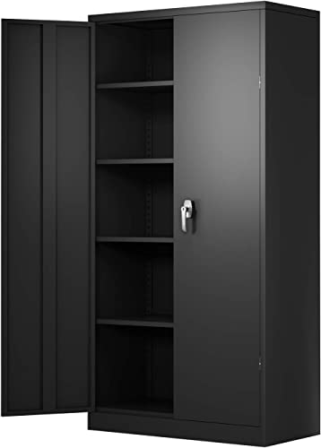 AOBABO Metal Storage Cabinet, Locking Steel Storage Cabinet with 4 Adjustable Shelves for Garage, 72 H 36 W 18 D, Utility Storage Cabinet with 2 Doors Black, Assembly Required