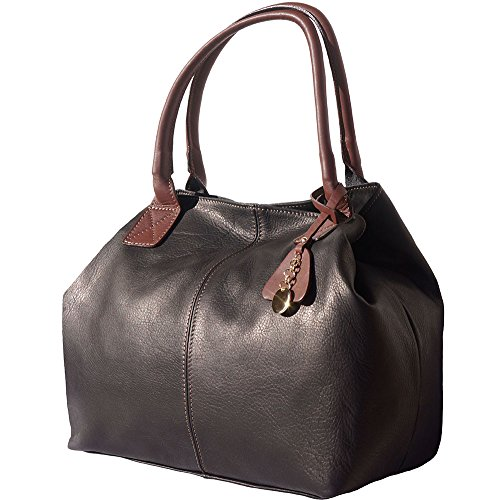 Bag Black With Tote 3015 Handle Leather Shopping brown Double SPEWxF17
