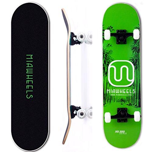 MIAWHEELS XS200 (Green/Black) - Xtreme Sport Skateboard- Handmade -100% 7PLY Canadian Maple - Deck 31x8inch- 54x32 PU Wheels-