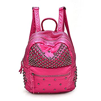 Amazon.com : 2017 Women Rivet PU Leather Backpack Women Fashion ...