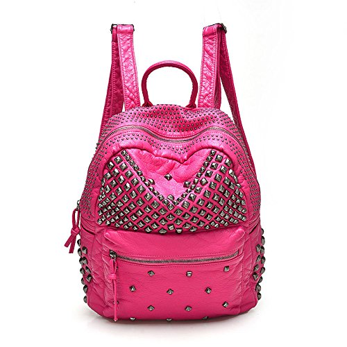 2017 Women Rivet PU Leather Backpack Women Fashion Backpacks for Teenage Girls Ladies Bag Satchel Bags Bolsa Feminina (Rose Color) (Oversized Jansport Backpack)