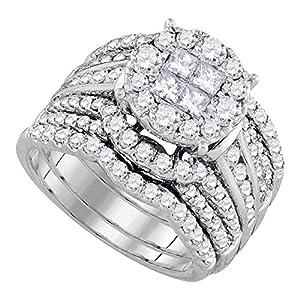 14k White Gold Princess Diamond Engagement Ring & Wedding Band Set Round Halo Bridal Set 2-1/2 ctw Size 8.5