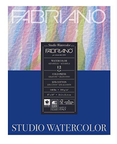 Fabriano Studio Watercolor Cold Press Pad, 8 x 10 inches, 12 Sheets (Studio 8 Paper)