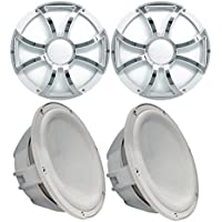 Two Wet Sounds Revo 10 Subwoofers & Grills - White Subwoofers & White Grills With Stainless Steel Inserts - 4 Ohm