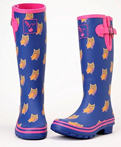 Evercreatures Womens Owl Wellington Boots Red DpZNuE7V