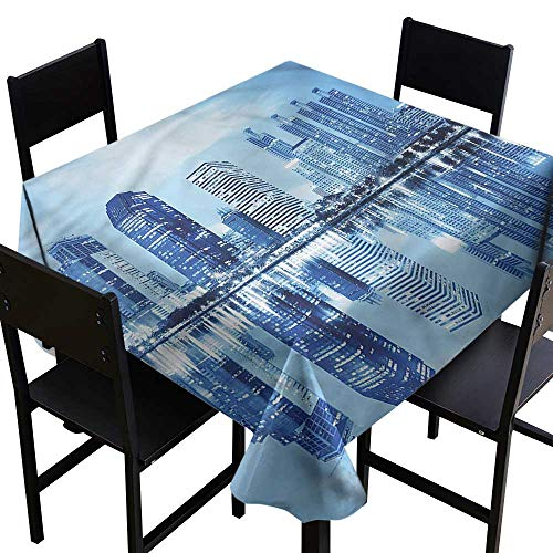 haommhome Washable Table Cloth Blue Night in City Architecture and Durable W36 xL36 Indoor Outdoor Camping Picnic