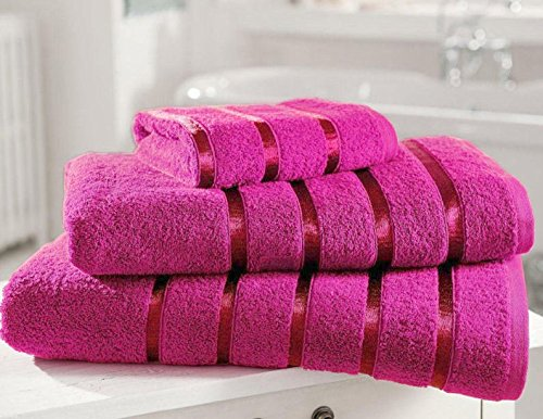 Bedding Heaven FUCHSIA PINK (Raspberry) Satin Stripe Egyptian Cotton Towels. 2 Hand Towels.