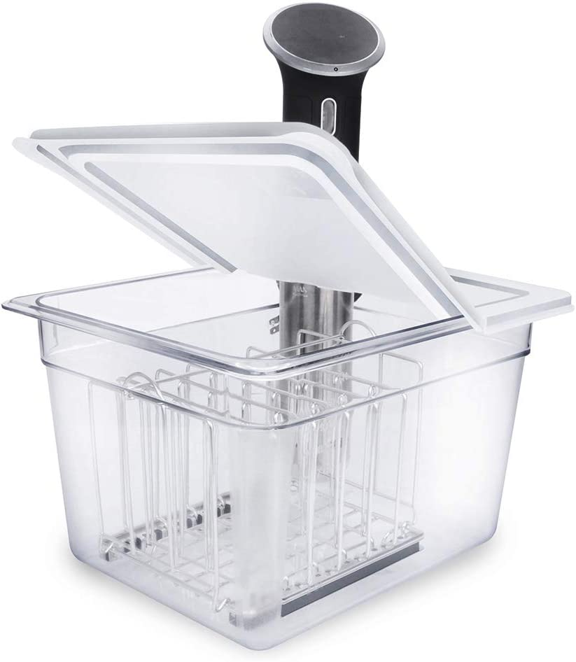 EVERIE Sous Vide Container 12 Qt with Collapsible Hinged Lid and Sous Vide Rack Divider for Anova 800w or 900w, Anova Cooker Not Included, Does Not Fit Anova Nano or AN500-US00