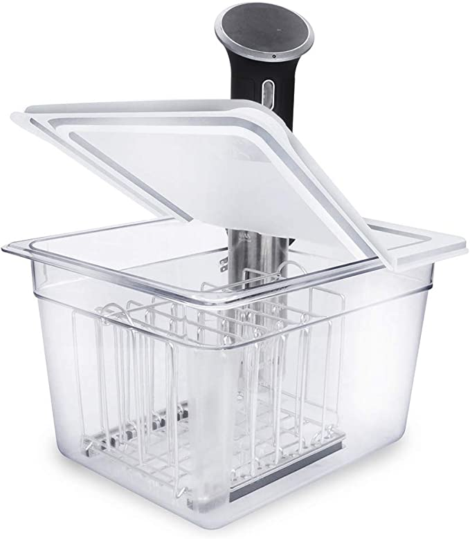 Amazon.com: EVERIE Sous Vide Container 12 Qt with Collapsible Hinged Lid and Sous Vide Rack Divider Compatible with Anova 800w or 900w, Anova Cooker Not Included, Not Compatible with Anova Nano or AN500-US00: Home & Kitchen