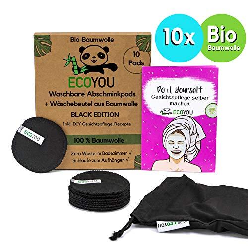 EcoYou® Abschminkpads Waschbar 100% BIO-Baumwolle in Schwarz 10er Set Inkl. DIY-Rezepte & Wäschenetz aus Baumwolle…